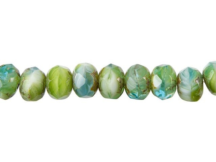 Czech Glass 9 x 6mm Aqua Green White Opaque Mix Rondelle Bead Strand by Raven's Journey