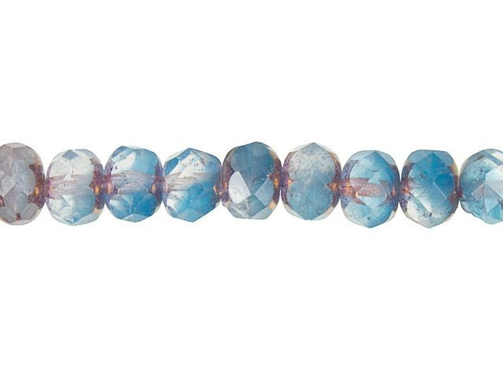 Czech Glass 9 x 6mm Aqua Opaline and Crystal Mix with Bronze Finish Faceted Rondelle Bead Strand by Raven's Journey