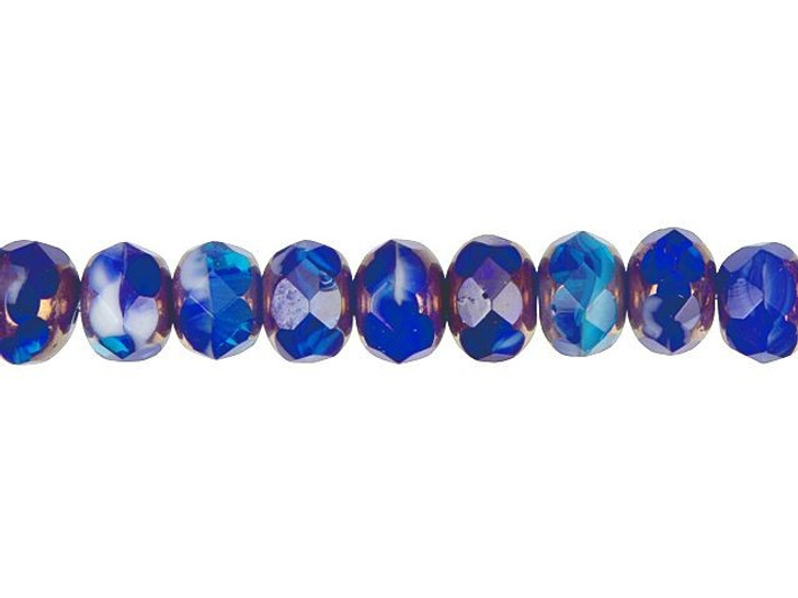 Czech Glass 9 x 6mm Cobalt Blue, Aqua, and Opaque White Mix with Bronze Finish Faceted Rondelle Bead Strand by Raven's Journey
