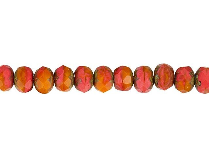Czech Glass 9 x 6mm Coral Red Opaline and Matte Orange with Picasso Finish Rondelle Bead Strand by Raven's Journey