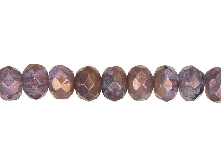 Czech Glass 9 x 6mm Dark Lavender and Opaque Pink with Golden Luster Faceted Rondelle Bead Strand by Raven's Journey