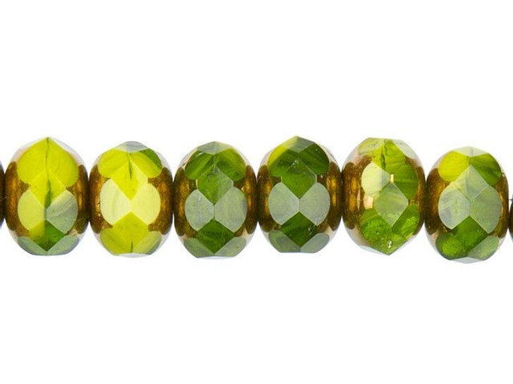 Czech Glass 9 x 6mm Gaspeite Green and Olivine Opaque Mix Rondelle Bead Strand by Raven's Journey