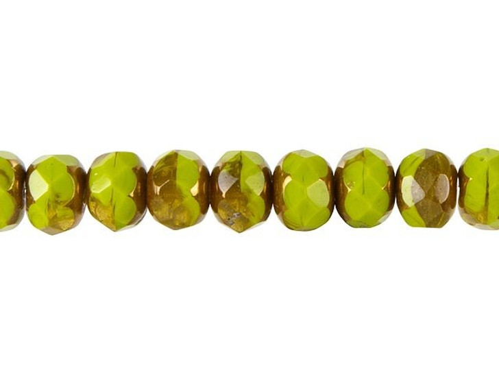 Czech Glass 9 x 6mm Gaspeite Green and Topaz Opaline Mix with Bronze Rondelle Bead Strand by Raven's Journey