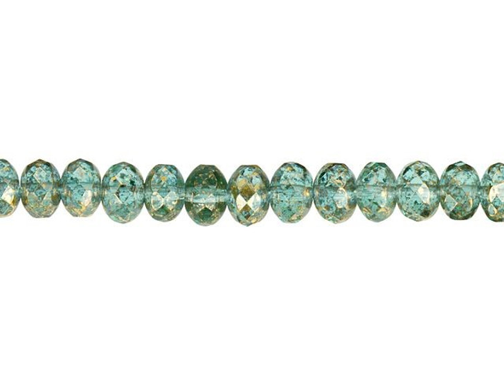 Czech Glass 9 x 6mm Green Aquamarine with Antique Gold Finish Rondelle Bead Strand by Raven's Journey