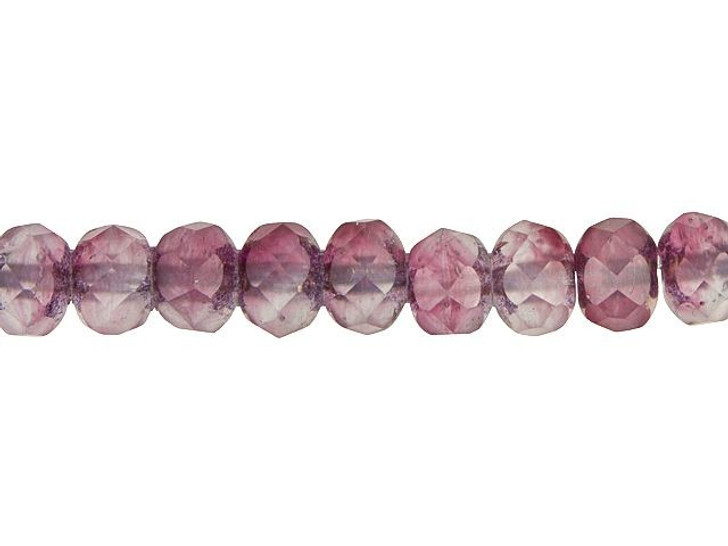 Czech Glass 9 x 6mm Matte Raspberry, Pink, and Purple Mix with Bronze Finish Faceted Rondelle Bead Strand by Raven's Journey