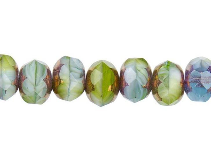 Czech Glass 9 x 6mm Olivine, Aqua, and White Mix with Bronze Finish Rondelle Bead Strand by Raven's Journey