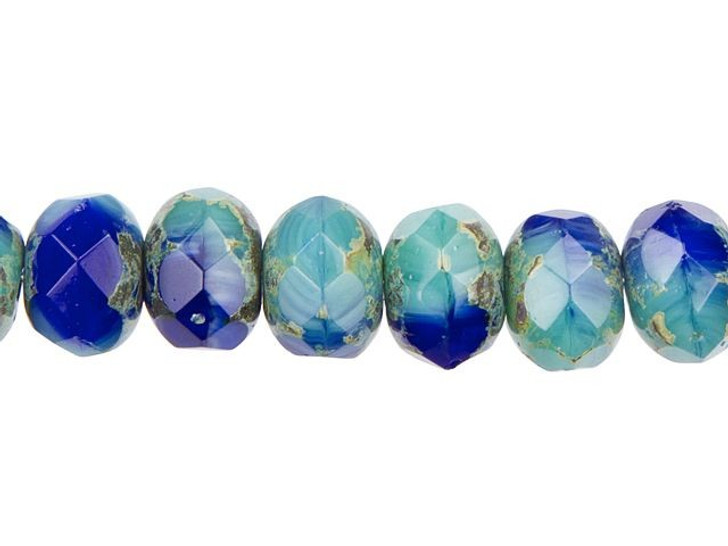 Czech Glass 9 x 6mm Royal Blue and Turquoise Mix with Picasso Finish Rondelle Bead Strand by Raven's Journey