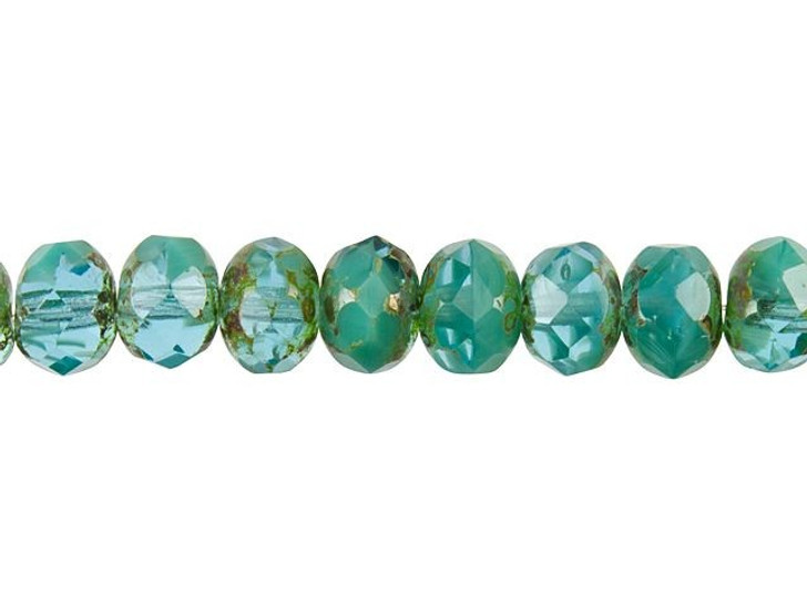 Czech Glass 9 x 6mm Turquoise and Aqua Opaque Mix with Picasso Finish Rondelle Bead Strand by Raven's Journey