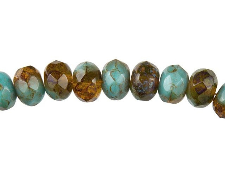 Czech Glass 9mm Opaque Blue and Transparent Amber with Picasso Roundel Bead Strand by Raven's Journey