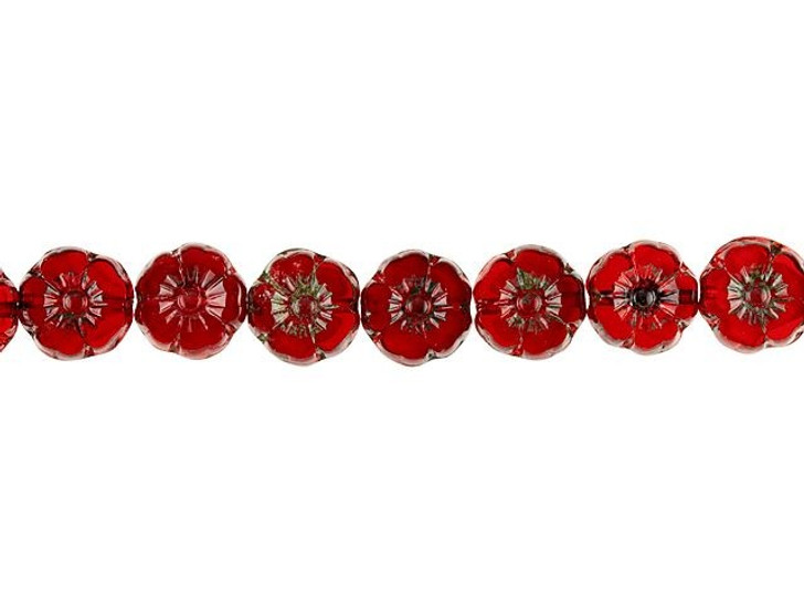 Czech Glass 9mm Red Opaline with Picasso Finish Hibiscus Flower Bead Strand by Raven's Journey