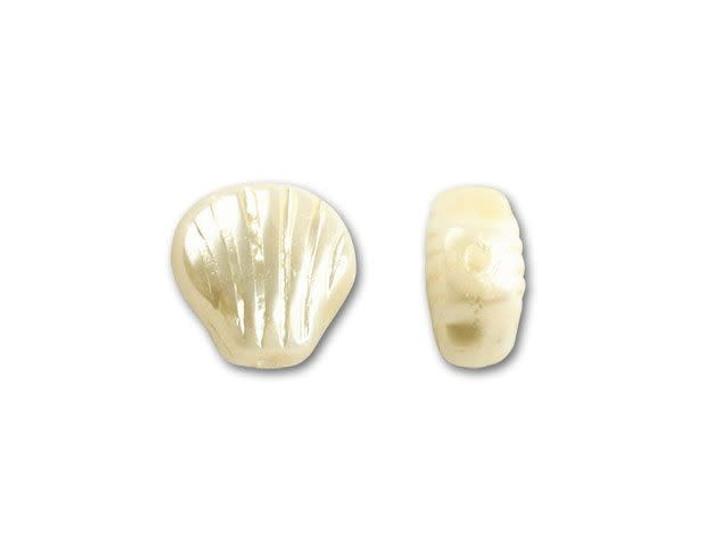 Czech Glass Bead 8mm Shell Pearlized Cream