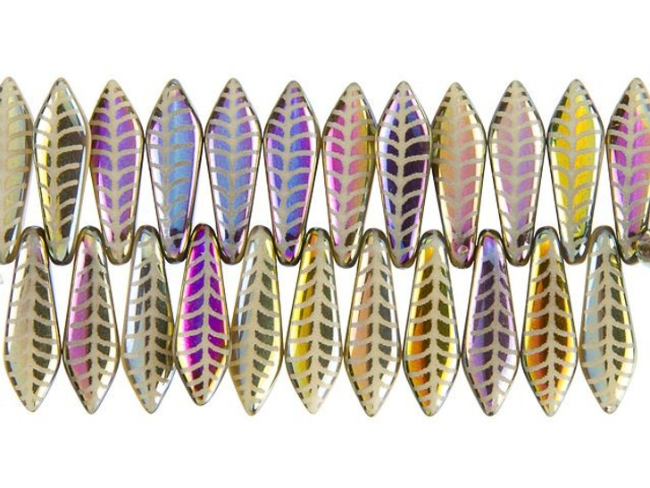 Czech Glass Beige with Rainbow Finish Laser-Etched Dagger Leaf Design Bead Strand by Raven's Journey