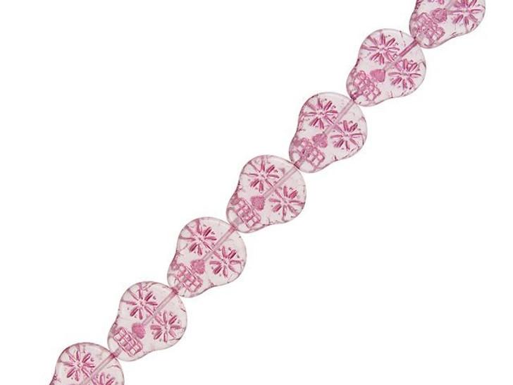 Czech Glass Crystal Matte with Pink Wash Sugar Skull Bead Strand by Raven's Journey