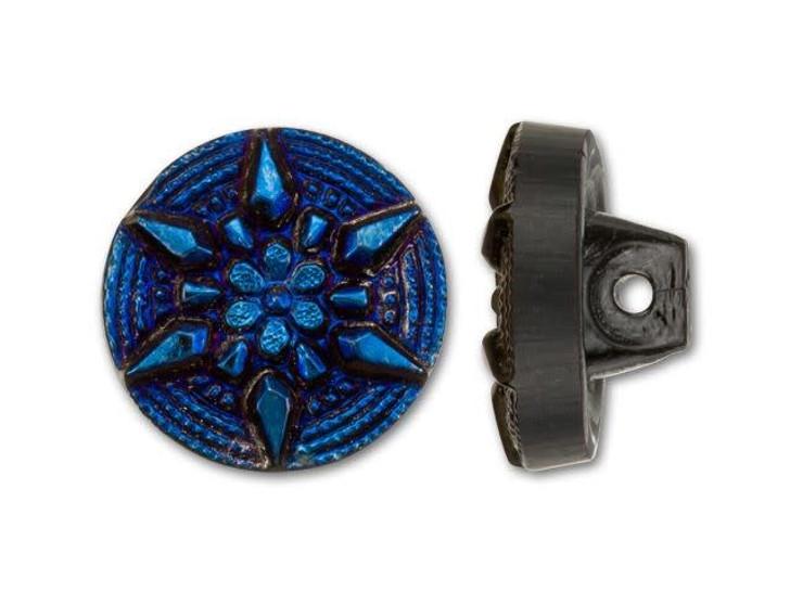 Czech Glass Dark Blue Iris Dotted Spiral and Arrows Design Round Button by Raven's Journey