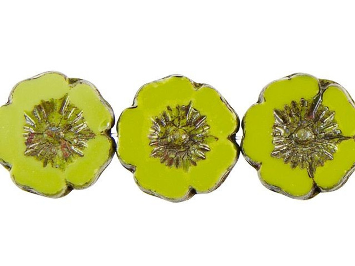 Czech Glass Hibiscus Flower 12mm Gaspeite Green Opaque with Picasso by Raven's Journey