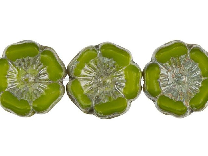 Czech Glass Hibiscus Flower 12mm Lime Green Silk with Picasso by Raven's Journey