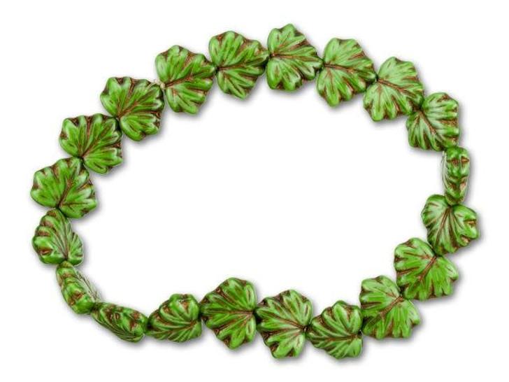 Czech Glass Kelly Green Bronze Finish Maple Leaf Bead Strand by Raven's Journey