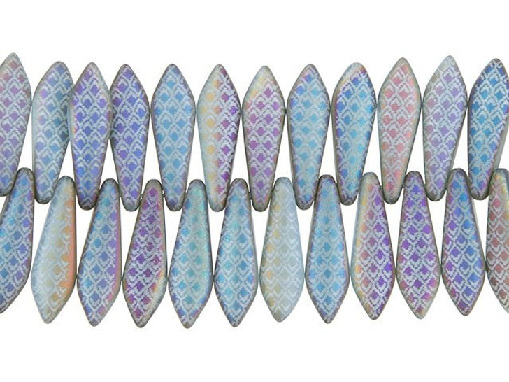 Czech Glass Laser-Etched Blue Opaline Matte with Rainbow Finish Medium Dagger Dragon Scale Design Bead Strand by Raven's Journey