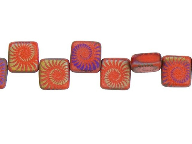 Czech Glass Laser-Etched Coral Red Matte with Rainbow Finish 2-Hole Square Bead Strand by Raven's Journey