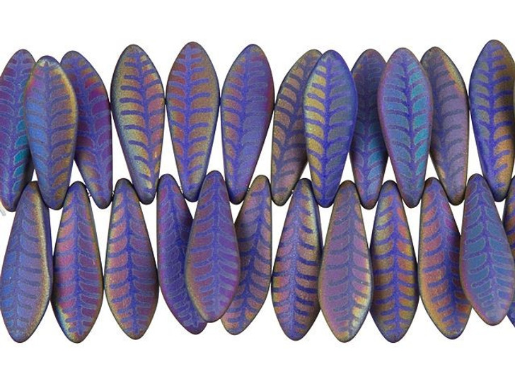 Czech Glass Matte Royal Blue with Rainbow Finish Laser-Etched Dagger Leaf Design Bead Strand by Raven's Journey