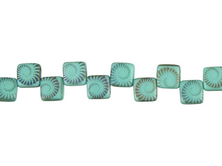 Czech Glass Matte Turquoise with Rainbow Finish Laser-Etched 2-Hole Spiral Design Square Bead Strand by Raven's Journey
