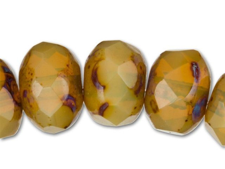 Czech Glass Opaque Amber Picasso Finish Faceted Roundel Bead Strand by Raven's Journey