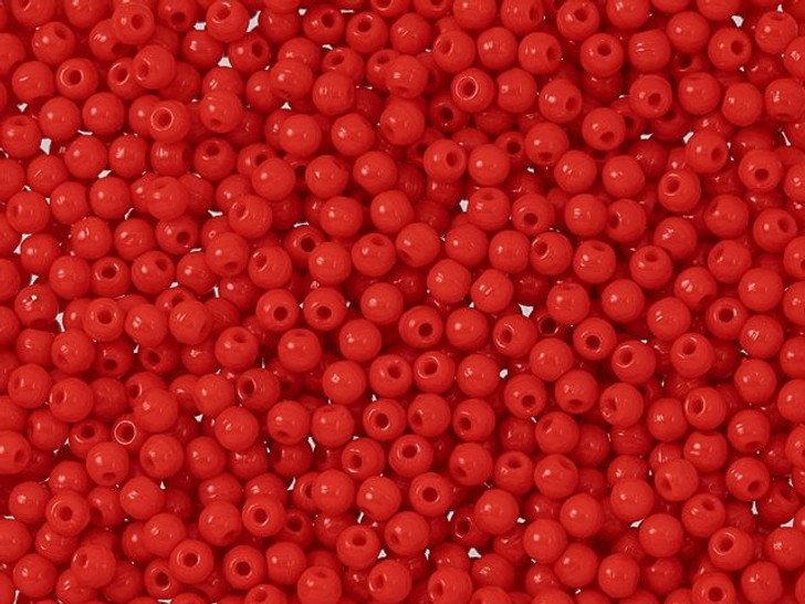 Czech Glass Opaque Red Half-Drilled 2mm Round Finial Bead 2.5-Inch Tube by Starman