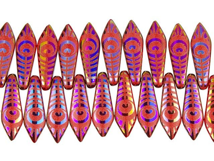 Czech Glass Opaque Red with Rainbow Finish Laser-Etched Dagger Peacock Feather Design Bead Strand by Raven's Journey