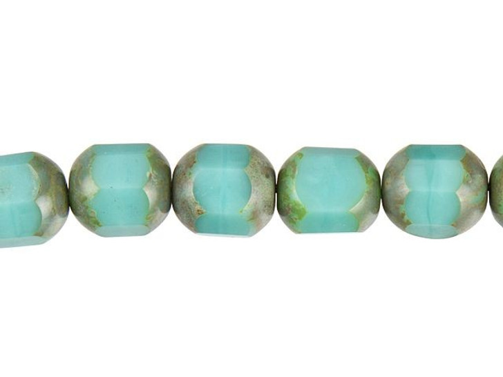 Czech Glass Opaque Turquoise with Picasso Cathedral Cut Bead Strand by Raven's Journey