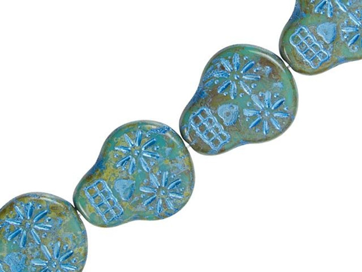 Czech Glass Opaque Turquoise with Picasso Finish and Blue Wash Sugar Skull Bead Strand by Raven's Journey