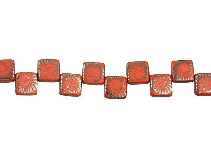 Czech Glass Red Coral with Silver Finish Laser-Etched 2-Hole Spiral Design Square Bead Strand by Raven's Journey