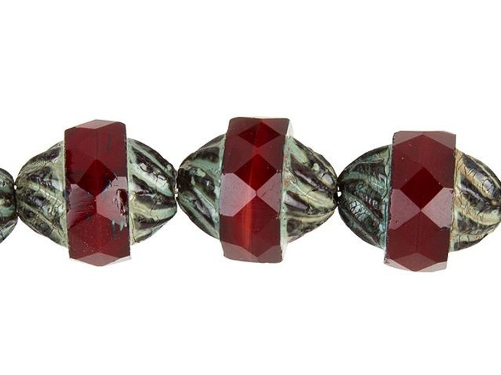 Czech Glass Red with Gray Picasso Spiral Central-Cut Oval Bead Strand by Raven's Journey