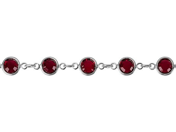 Swarovski 90005 11.5mm Silver-Plated Cuplink Chain Siam by the Foot