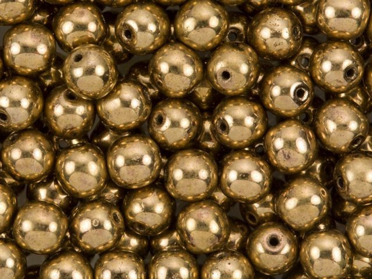 Czech Glass Round Beads 6mm Bronze (50pc Strand) by Starman