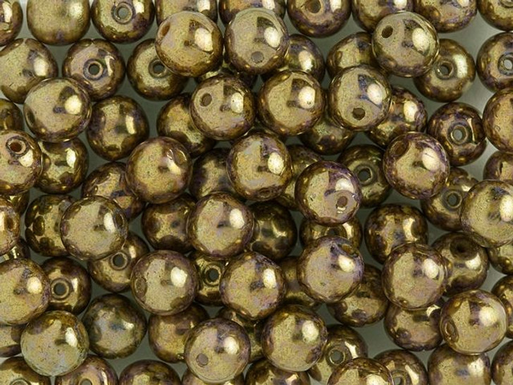 Czech Glass Round Beads 6mm Opaque Gold and Smoky Topaz Luster (50pc Strand) by Starman