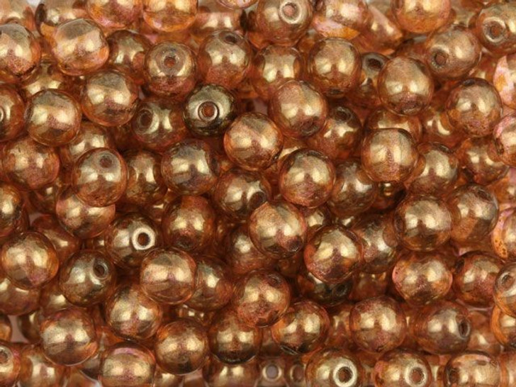 Czech Glass Round Beads 6mm Rose and Topaz Luster (50pc Strand) by Starman