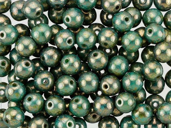 Czech Glass Round Beads 6mm Turquoise Green Bronze Picasso Finish (50pc Strand) by Starman