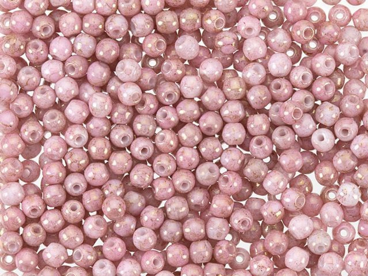 Czech Glass Round Beads Luster Opaque Topaz and Pink 3mm (100pc pack) by Starman