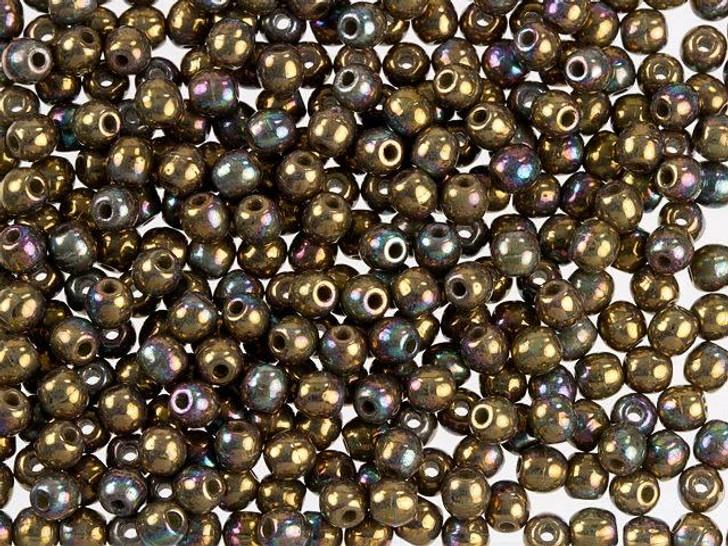 Czech Glass Round Beads Oxidized Bronze Clay 3mm (100pc Strand) by Starman