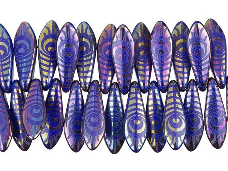 Czech Glass Royal Blue with Rainbow Finish Laser-Etched Dagger Peacock Feather Design Bead Strand by Raven's Journey