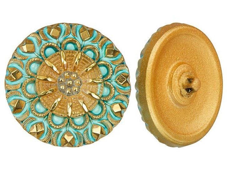 Czech Glass Turquoise and Gold Floral Motif Button by Raven's Journey