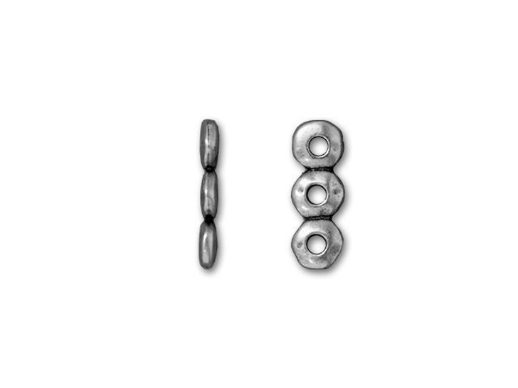 TierraCast 7mm Antique Pewter 3 Hole Nugget Spacer Bar