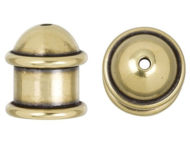TierraCast 8mm Brass Oxidized Brass Capitol Cord End Cap