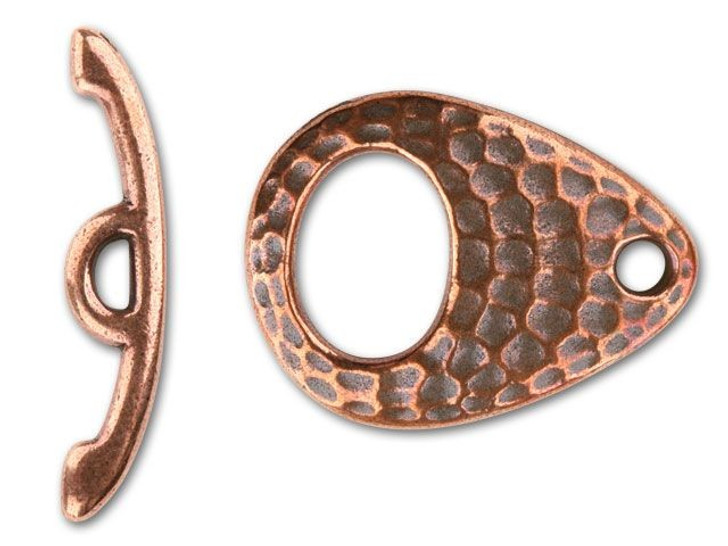 TierraCast Antique Copper Hammered Ellipse Toggle Clasp