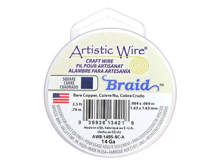 14-Gauge Bare Copper Non-Tarnish Square Artistic Wire Braid , 2.5-Foot Spool