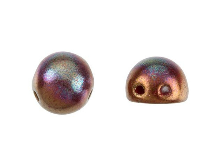 CzechMates 2-Hole 7mm Bronze Luster Iris Opaque Red Cabochon Beads 2.5-Inch Tube
