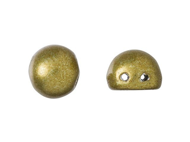 CzechMates 2-Hole 7mm ColorTrends: Saturated Metallic Spicy Mustard Cabochon Beads 2.5-Inch Tube