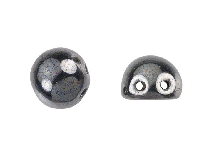 CzechMates 2-Hole 7mm Hematite Cabochon Beads 2.5-Inch Tube