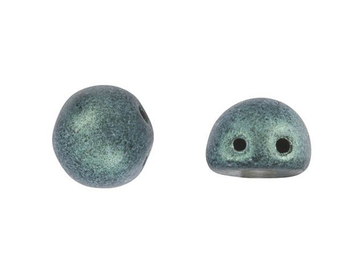 CzechMates 2-Hole 7mm Metallic Suede Light Green Cabochon Beads 2.5-Inch Tube