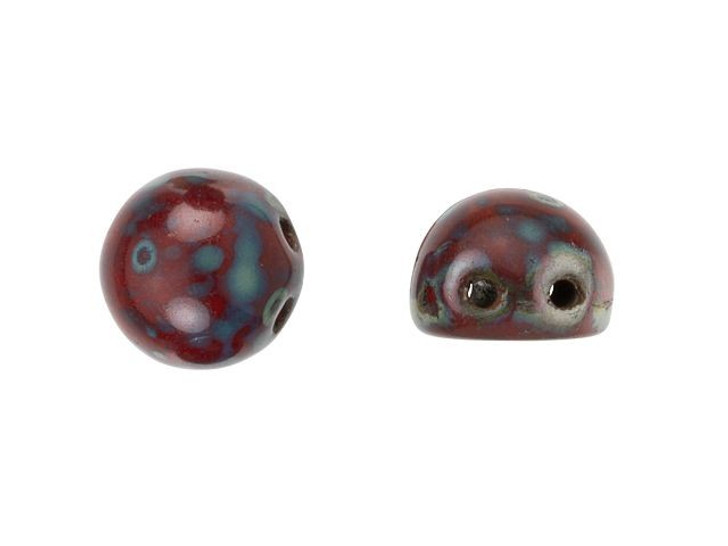 CzechMates 2-Hole 7mm Opaque Red Picasso Cabochon Beads 2.5-Inch Tube